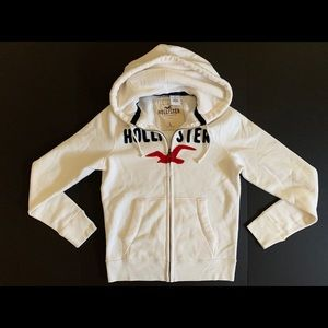 Hollister Embroidered Zip Up Hoodie